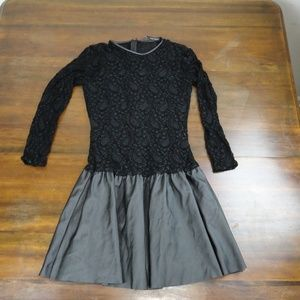 Zara Basic Black Lace and Faux Leather Dress S